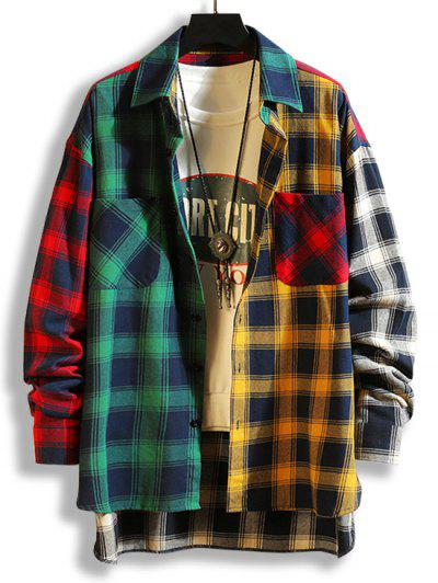 Colorblock Plaid Panel High Low Shirt - Green M