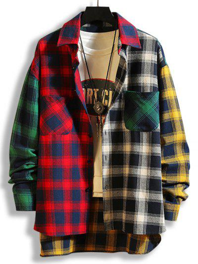 Colorblock Plaid Panel High Low Shirt - Red 3xl