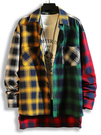 Colorblock Plaid Panel High Low Shirt - Yellow L