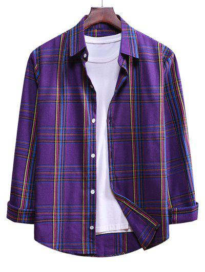 Plaid Long Sleeve Casual Shirt - Purple Amethyst M