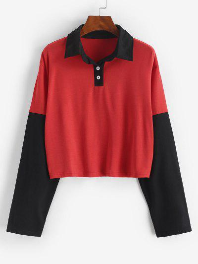 Button Front Two Tone Sweatshirt - Red M