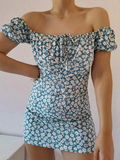 ZAFUL Ditsy Floral Off Shoulder Tie Dress - Multi-b M