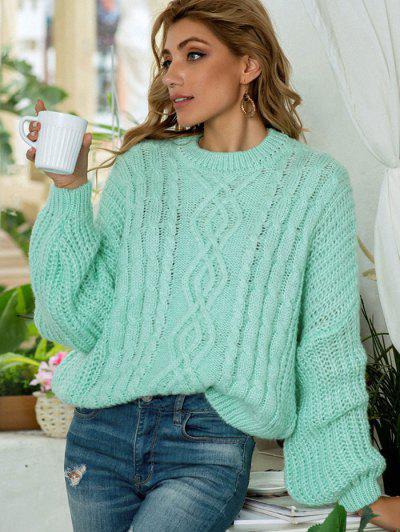 Suéter Tricotado Volumoso Tamanho Grande - Verde