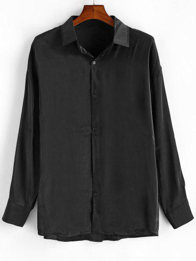 Long Sleeve Solid Color Button Up Shirt - Black 2xl