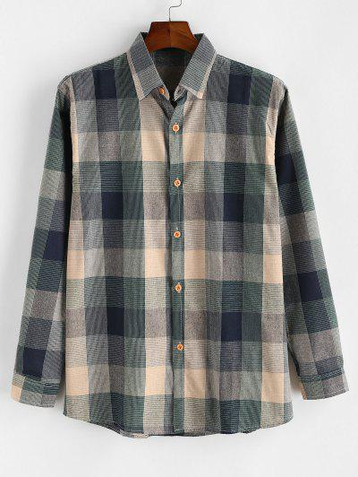 Colorblock Checked Button Up Long Sleeve Shirt - Blue S