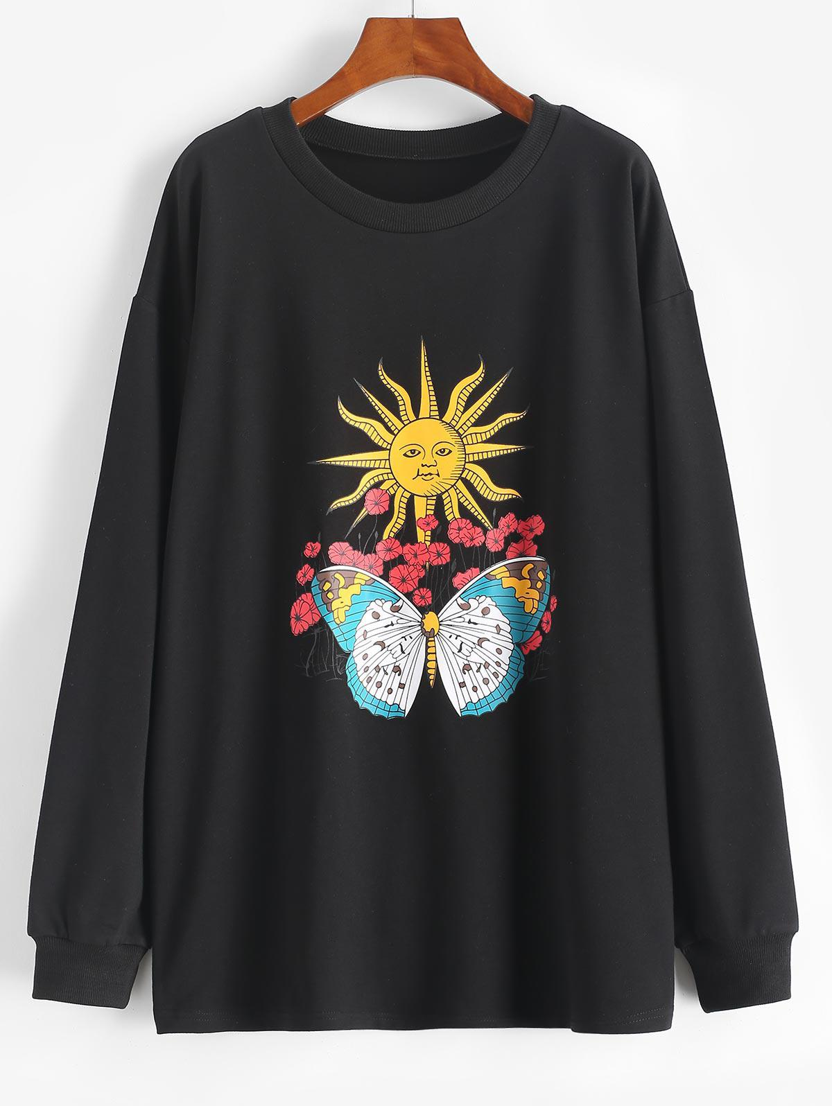 Sun Flower Butterfly Print Drop Shoulder Loose Sweatshirt