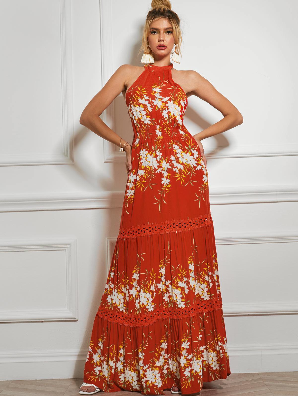 Sleeveless Floral Crochet Panel Maxi Dress