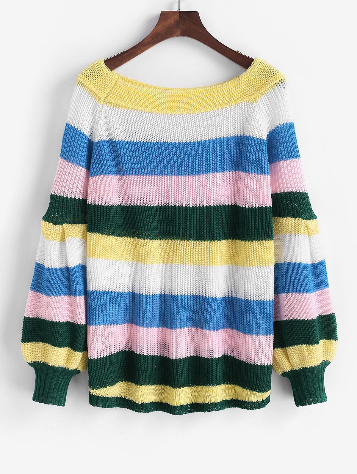 Colorful Striped Lantern Sleeve Jumper Sweater