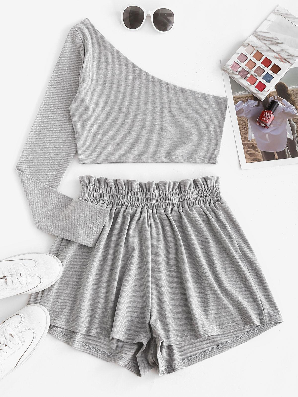 One Shoulder Ribbed Marled Two Piece Shorts Set