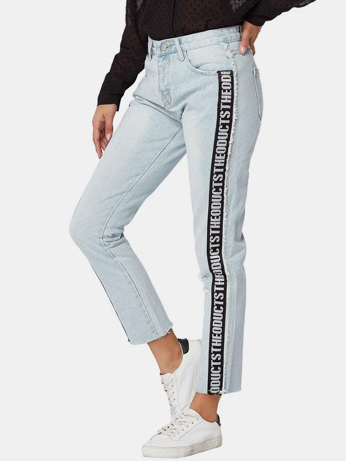 Letter Side Distressed Frayed Straight Jeans