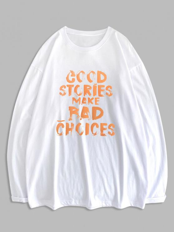 chic Good Stories Slogan Print Long Sleeve Basic T-shirt - WHITE 2XL