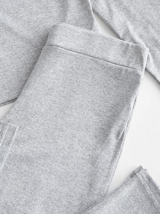 Heathered Sports Cropped Top And Leggings Set - Gray Cloud S   ZAFUL