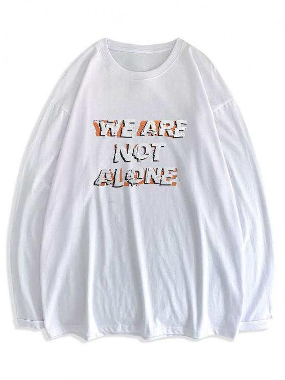 fancy Slogan Print Streetwear Crew Neck T-shirt - WHITE L