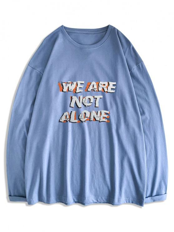 latest Slogan Print Streetwear Crew Neck T-shirt - BLUE KOI 2XL