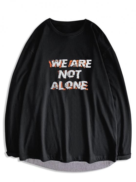 Slogan Print Streetwear Crew Neck T-shirt - أسود XL