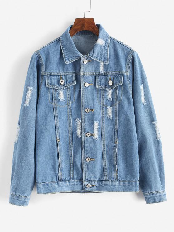 new Button Up Distressed Pockets Denim Jacket - SILK BLUE S