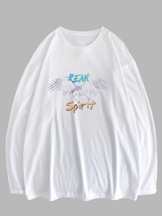 Eagle Letter Graphic Long Sleeve T-shirt - أبيض XL