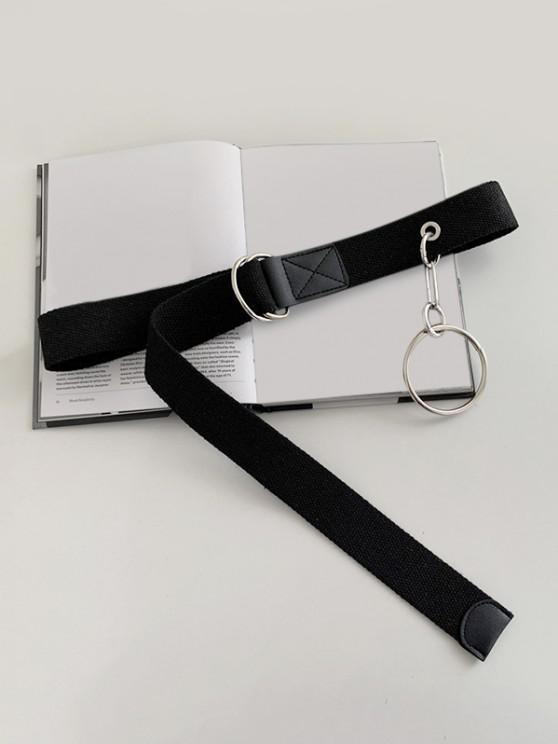 ladies O Ring Pendant Canvas Belt - BLACK