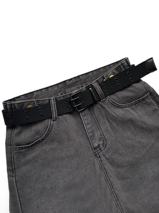 Double Row Holes Canvas Belt - أسود