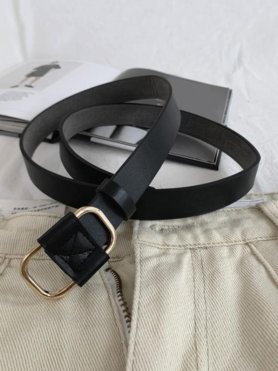 Metal Buckle PU Waist Belt - أسود