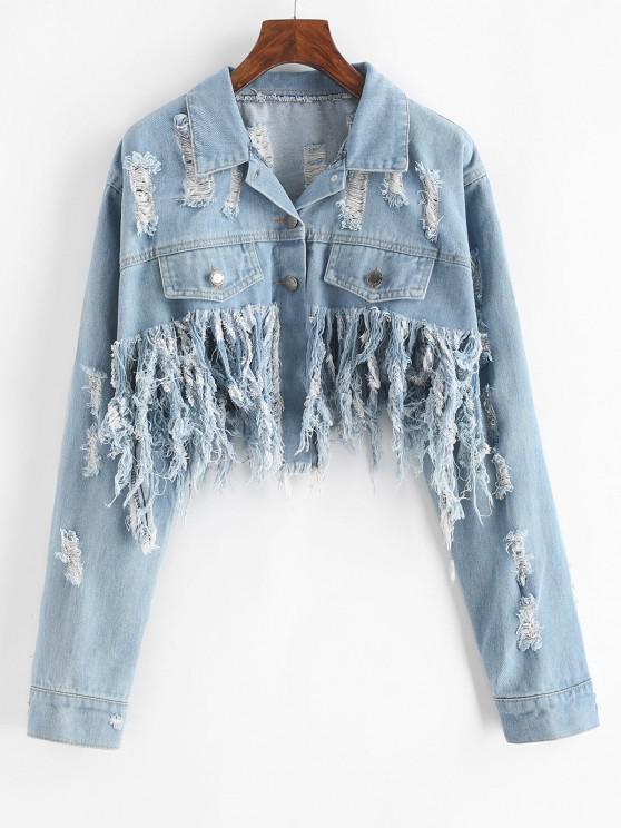 women's Distressed Cropped Jean Jacket - LIGHT BLUE M