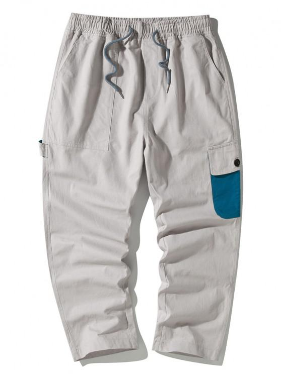 Colorblock Side Flap Pocket Cargo Pants - رمادي فاتح M