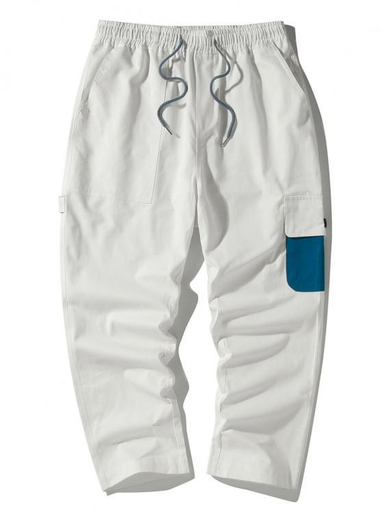 Colorblock Side Flap Pocket Cargo Pants - أبيض L