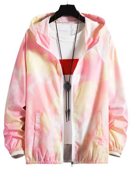 hot Tie Dye Raglan Sleeve Lightweight Sunproof Hooded Jacket - LIGHT PINK XS