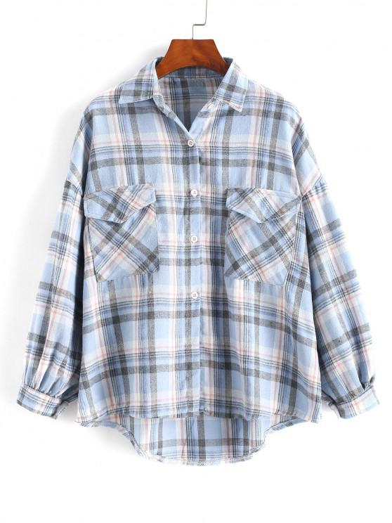 hot Checked Pockets Drop Shoulder High Low Shirt - SLATE BLUE ONE SIZE
