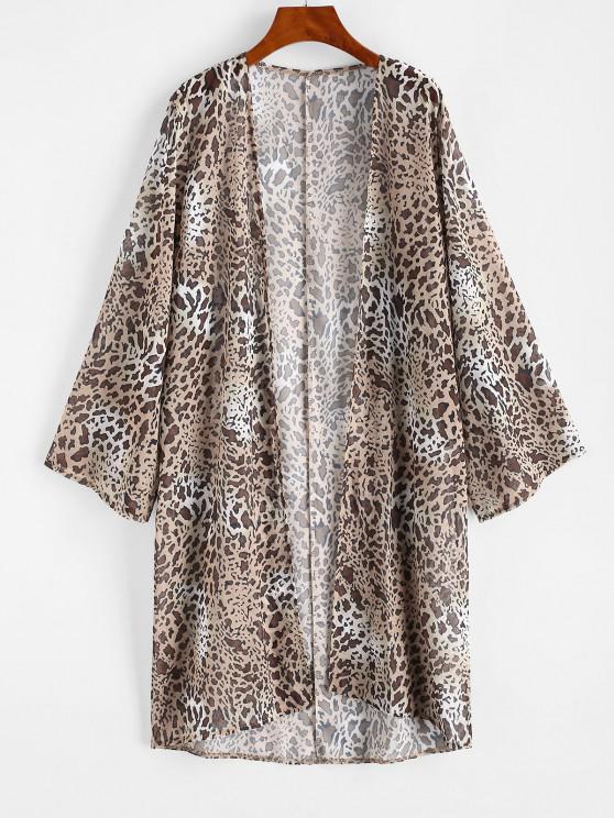 fashion Leopard Long Kimono Cover-up - LIGHT COFFEE L