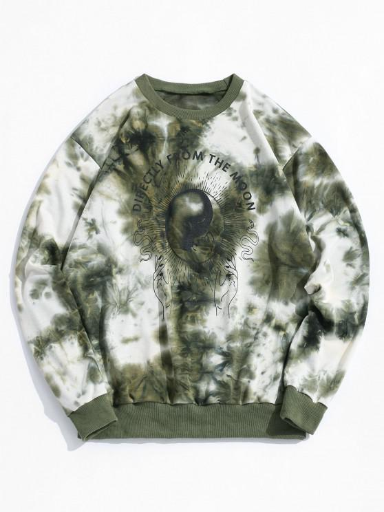 unique ZAFUL Tie Dye Moon Graphic Sweatshirt - DEEP GREEN S