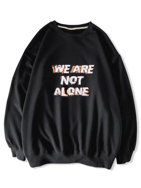 ladies Slogan Print Casual Drop Shoulder Sweatshirt - BLACK 2XL