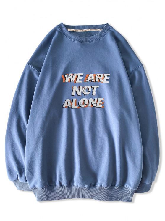 Moletom Casual Slogan dos Gota Ombro - Hera Azul S