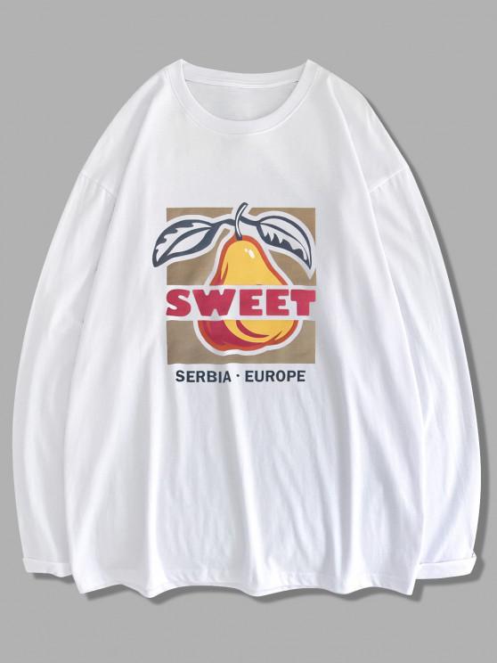 Süße Frucht Buchstabe Graphik Langarm T-Shirt - Weiß XL