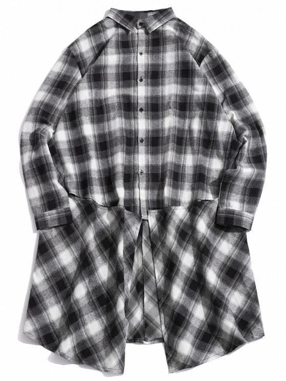 fancy Checked Button Up High Low Longline Shirt - WHITE XL
