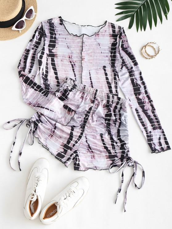women Tie Dye Crop Top and Scrunch Butt Shorts Two Piece Set - DARK KHAKI S