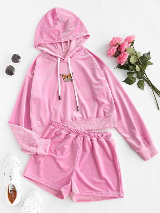 trendy Butterfly Embroidered Velvet Drawstring Two Piece Set - LIGHT PINK M