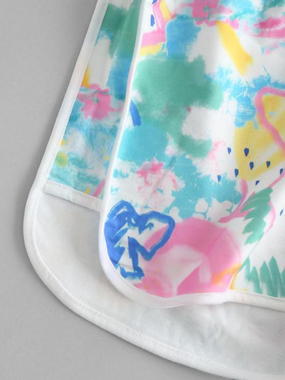 Graffiti Drawstring Dolphin Shorts - Multi S | ZAFUL