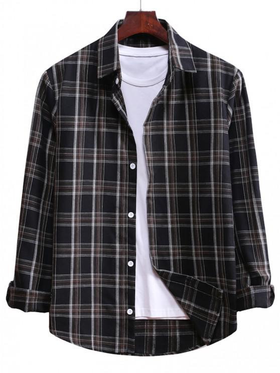 lady Plaid Curved Hem Button Up Shirt - BLACK L