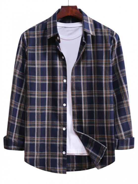 Camisa de Cordão de Botão Xadrez - Azul Escuro de Denim  M