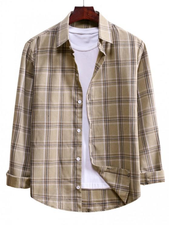 Plaid Curved Hem Button Up Shirt - بلانشيد اللوز L