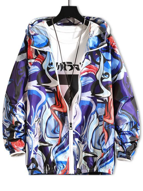 shop Raglan Sleeve Art Graphic Sunproof Hooded Jacket - DENIM DARK BLUE XS