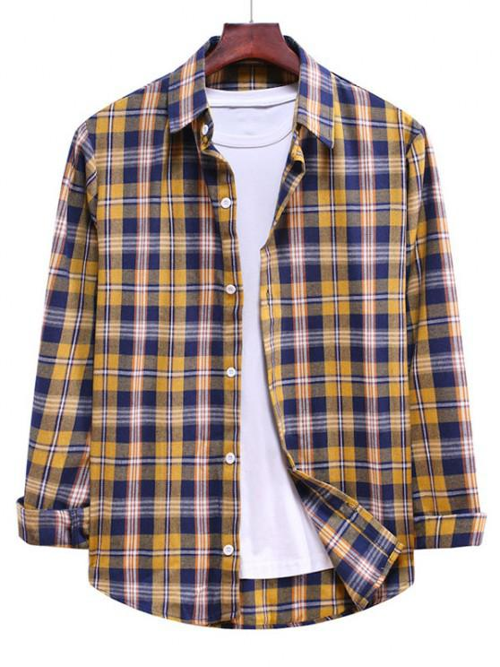 new Button Down Plaid Casual Shirt - BEE YELLOW 2XL