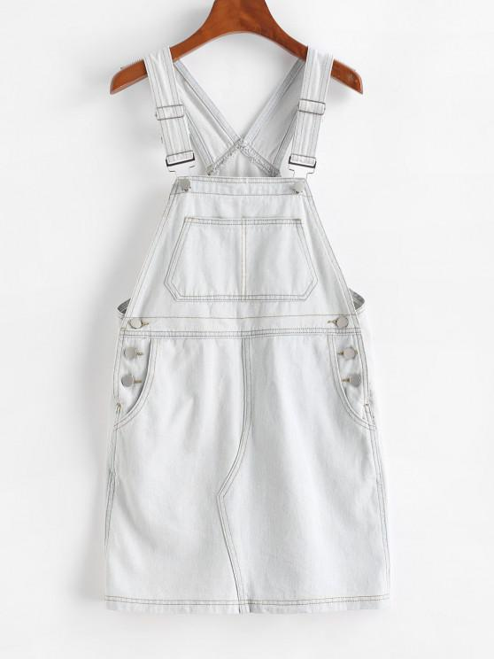 fancy Button Sheath Overall Jean Dress - BLUE GRAY L
