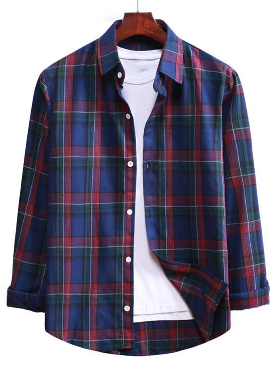 Plaid Button Up Long Sleeve Shirt - الدينيم الأزرق الداكن M