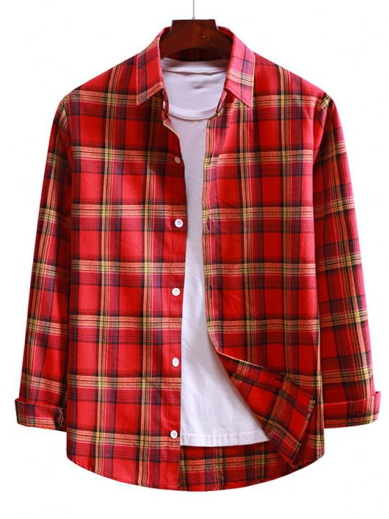 chic Plaid Button Up Long Sleeve Shirt - LAVA RED L