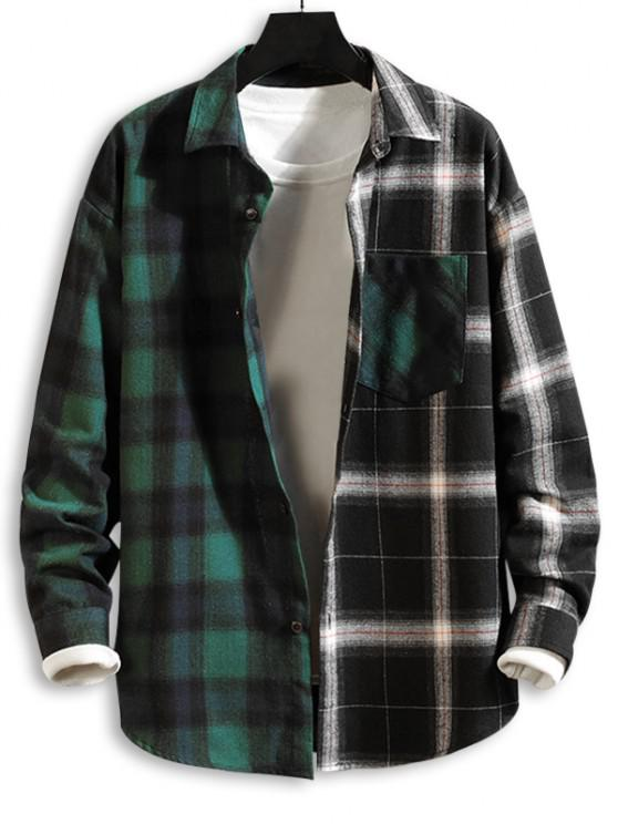 new Colorblock Panel Pocket Patch Button Down Shirt - GREEN 2XL