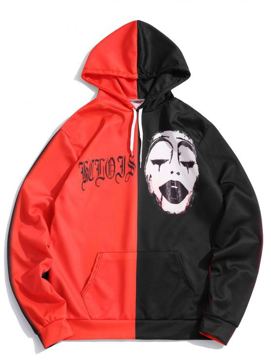new Two Tone Halloween Face Graphic Drawstring Pullover Hoodie - MULTI L