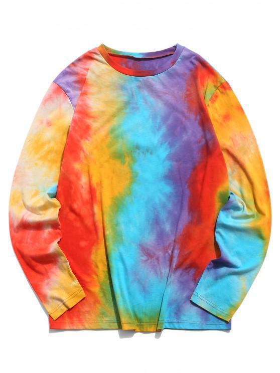 best ZAFUL Tie Dye Print Long Sleeve T Shirt - MULTI 2XL
