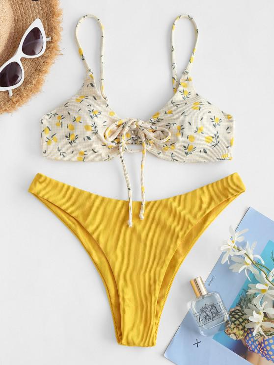 shops ZAFUL Ribbed Lemon Print Drawstring Keyhole Bikini Swimwear - YELLOW S